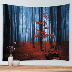 Wall Hanging Art Maple Forest Print Tapestry - W91 INCH * L71 INCH W91 INCH * L71 INCH