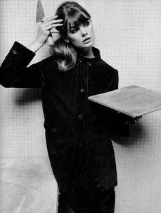 Jean Shrimpton photographed by somebody who thinks trowelling cement in suede is funny.