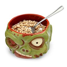 Zombies have been eating things out of our heads for years. Time to turn the tables. Finally, a bowl that looks like a zombie head we can eat out of!
