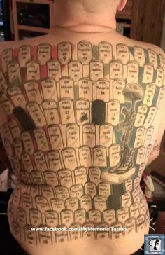 David Larson's latest photo of his body tattoo Memorial! Also, the blacked out headstones are for the MIAs and POWs.
