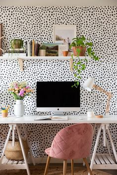 Spotty Home Office Makeover – Mary Lauren Black Office Furniture, Office Furniture Design, Office Interior Design, Office Interiors, Exterior Design, Polka Dot Bedroom, Polka Dot Walls, Boho Home, Home Office Space