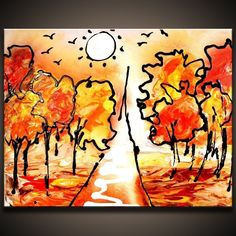 Painting Autumn simple and effective Abstract Art painting techniques Ab...
