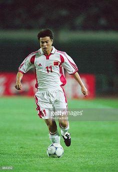 Yu Genwei of China on the ball during the FIFA 2002 World Cup Qualifier between China and the United Arab Emirates played at the Wulihe Stadium in...