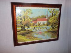 Vintage Mid Century PBN Paint By Number Country Church Craft House Framed Glass #Realism