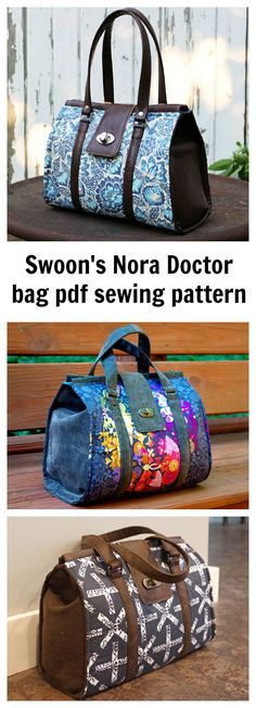 Check out this awesome downloadable pdf sewing pattern from SWOON - the Nora Doctor Bag. Nora is a classic handbag inspired by doctor bag purses of the past.
