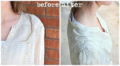 quick way to shorted shoulders of a big  shirt. Add pleats at the top.