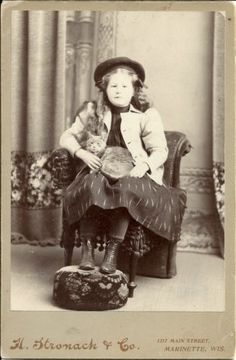 Antique Cabinet Card Little Girl with Her Tabby Cat Photo | eBay
