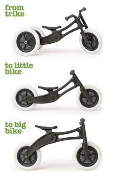 """ Wishbone Design Studio created the Wishbone Bike Recycled Edition (RE), which is highly adjustable and grows with a child. It easily converts from a tricycle to small bike to a bigger bike. Kids Trike, Wood Bike, Diy Bebe, Kids Bicycle, Balance Bike, Ride On Toys, Carpet Design, Wood Toys, Kids Furniture"