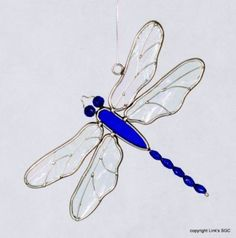 Stained Glass Dragonfly Blue Beaded
