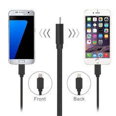 [$1.45] 2 in 1 Woven Style Micro USB & 8 Pin to USB Data / Charger Cable for iPhone, iPad, Samsung, Sony and other Smartphones, Length: 20cm(Black)