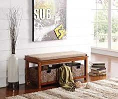 ACME Furniture  Letha Bench with Storage, Light Brown and Walnut * You can get more details by clicking on the image. (This is an affiliate link) Entry Storage Bench, Wooden Storage Bench, Upholstered Storage Bench, Bench With Storage, Storage Baskets, Entryway Bench, Entryway Furniture, Entryway Organization, Houses