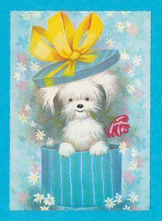 Vintage big eyed post card 70s. Puppy hiding