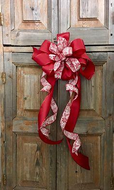 The Rita Red And White Christmas Tree Topper Bow // Bow With Streamers //  Wreath Bow // Swag Bow // Ribbon Topper // Mailbox Bow By CrestedPerch On  Etsy