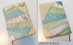 Front and back view of the custom Bible cover that I crazy-quilted (including embroidery and beadwork).