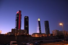 Sunset at Four Towers Business Area, Madrid
