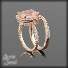 14kt Rose Gold Morganite Engagement Ring Set with Diamonds all over - LS2315. $3,219.00, via Etsy.