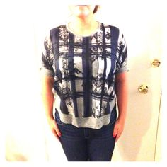 """Zara top! NWOT Zara Collection W&B top! Size USA Med. zipper detail in the back - about 6"""". Slightly sheer in the front. Black grey and navy blue. Zara Tops"""