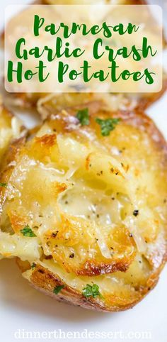 Parmesan Garlic Crash Hot Potatoes are crispy creamy cheesy. Parmesan Garlic Crash Hot Potatoes are crispy creamy cheesy and garlicky Potato Sides, Potato Side Dishes, Vegetable Dishes, Hot Veggie Side Dish, Potato Recipes, Vegetable Recipes, Vegetarian Recipes, Cooking Recipes, Healthy Recipes