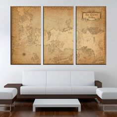 Game of Thrones ancient map 1 or 3 Panel Canvas, Vintage Map, Map On Canvas, Multi Panel Canvas, Home Decoration by LargeArtCanvas