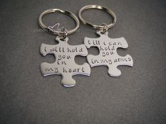 Couples Keychains, I will hold you in my heart till i can hold you in my arms keychain, Puzzle Keychains, Long Distance Relationship