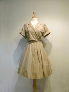Khaki Full Skirt Safari Dress