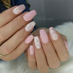 nail art designs with glitter ~ nail art designs ; nail art designs for spring ; nail art designs for winter ; nail art designs with glitter ; nail art designs with rhinestones Pink Gel Nails, Cute Acrylic Nails, Cute Nails, Baby Pink Nails With Glitter, Pink Sparkle Nails, Blush Pink Nails, Glitter Accent Nails, Pink Nail Art, Silver And Pink Nails