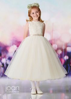 First Communion dresses in the Joan Calabrese Collection by Mon Cheri are available in ball gown, fit and flare, or A-line dress styles. Featuring traditional white dresses with sleeveless or short-sleeved options. Designer First Communion Dresses, Girls Designer Dresses, Designer Wedding Dresses, Little Girl Dresses, Girls Dresses, Flower Girl Dresses, Mon Cheri Bridal, White Ball Gowns, Ball Gown Dresses