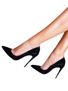 345215979e7 Suede High Heels Black Pointed Toe Stiletto Heel Pumps Women Dress Shoes