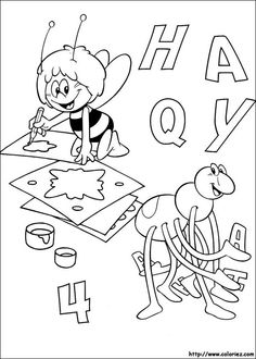 Maya Bee Coloring pages for kids. Bee Coloring Pages, Online Coloring Pages, Printable Coloring Pages, Coloring Books, Bee Pictures, Diy And Crafts, Elephant, Snoopy, Drawing Tips