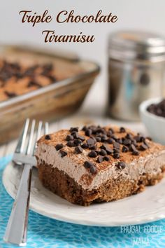 From the chocolate ladyfinger cake to the mocha coffee it is soaked in, to the chocolate mascarpone topping, and then the finishing touch of a cocoa powder dusting and a sprinkle of mini chocolate chips, this Triple Chocolate Tiramisu is a chocolate lover's dream dessert. #FWCon