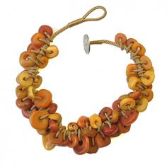 by Jewels Marrakech, Santa Fe | Necklace; antique amber beads from morocco, attached to a hand woven cord | 2'800$