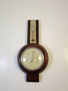 Vintage Wall Barometer Thermometer Taylor Wood Case Weather