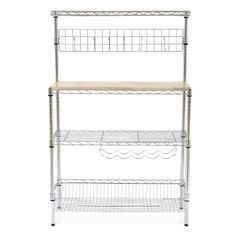 RE Chrome Baker's Rack with Wood Block Top