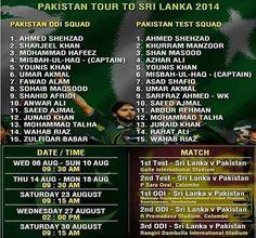 Pakistan tour to Sri Lanka 2014 schedule