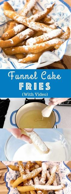 Easy Funnel Cake Fries - delicious cake batter becomes perfect crispy pom . - Easy Funnel Cake Fries – delicious cake batter is fried to perfect crispy french fries. Funnel Cake Batter, Funnel Cake Fries, Funnel Cakes, Easy Desserts, Dessert Recipes, Easy Delicious Desserts, Deep Fried Desserts, Cake Recipes, Oreo Desserts