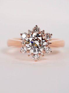 Nellie's rose gold diamond snowflake engagement ring Snowflake Engagement Ring, Snowflake Ring, Dream Engagement Rings, Princess Cut Engagement Rings, Rose Gold Engagement Ring, Unusual Engagement Rings, Oval Engagement, Wedding Jewelry, Wedding Rings