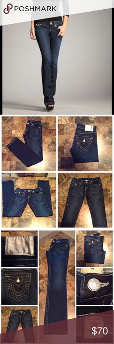 "True Religion Jeans First pic of model wearing this style of Jeans.  Last 3 pics are of actual item/color.  Jeans are made of 98% Cotton and 2% Spandex. Billy style. Size 26 Waist. Straight Leg. Rise ""8. Leg Opening ""7. Length ""38.  Laying flat ""13. Inseam ""31. This item is NOT new, It is used and in Excellent condition. Authentic and from a Smoke And Pet free home. Ask any questions BEFORE purchase. Please use the Offer button, I WILL NOT negotiate in the comment section. Thank You😃 True…"