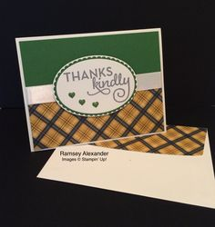 Stampin Up - One Big Meaning, Warmth & Cheer DSP, Garden Green and Whisper White cardstock, Regal Enamel Shapes, and  Very Vanilla Satin Ribbon(retired) http://www.stampinup.net/esuite/home/ramseyalexander/