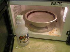 Vinegar + water :: clean a microwave
