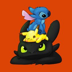 Stitch, Pikachu and Toothless - Pokemon about you searching for. Cute Disney Drawings, Cute Animal Drawings, Cartoon Drawings, Cute Drawings, Kawaii Disney, Pikachu Pikachu, O Pokemon, Pokemon Fusion, Pokemon Cards