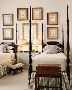 Sheraton Poster Beds, dark finish contrasting with brown, gold, and beige. -CW-