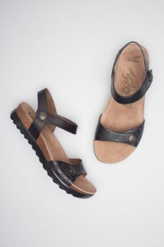 Dansko Paola Sandal: Black Veg Leather