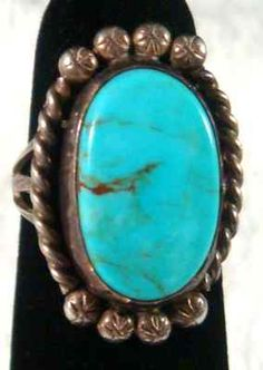 1960's J Johnson Navajo Old Pawn Bisbee Turquoise Sterling Silver Ring