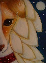 Art: LOVELY GREYHOUND ANGEL DOG & SNOW by Artist Cyra R. Cancel