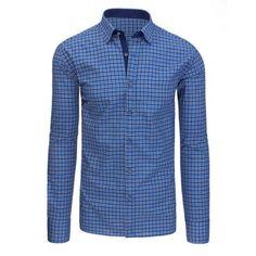 Moderní pánská košile modré barvy s károvaným vzorem a dlouhým rukávem -  manozo.cz fc2cef1ebc