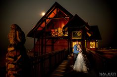 Nighttime cuddled under the moonlight for the bride and groom  Wedding Photography at Kicking Horse Mountain Resort     Walker Photography www.walkerphoto.ca