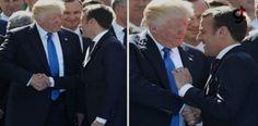 Emmanuel Macron, ABD Başkanı Donald Trump Tokalaşması