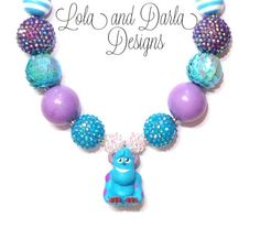 CUTEST girls necklaces EVER! Lots of different styles! SULLY necklace monsters inc necklace monsters university necklace chunky necklace bubblegum necklace birthday necklace