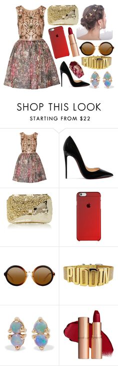 """""""Sin título #3763"""" by onedirection-h1n1l2z1 on Polyvore featuring Notte by Marchesa, Christian Louboutin, Anndra Neen y WWAKE"""