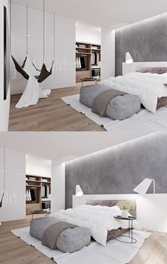 Elevate Home Design - homedesigning: (via 20 Light, White Bedrooms for. Elevate Home Design - homedesigning: (via 20 Light, White Bedrooms for. Modern Master Bedroom, Modern Bedroom Design, Master Bedroom Design, Modern House Design, Home Decor Bedroom, Interior Design Living Room, Modern Minimalist Bedroom, Contemporary Bedroom, Ikea Bedroom